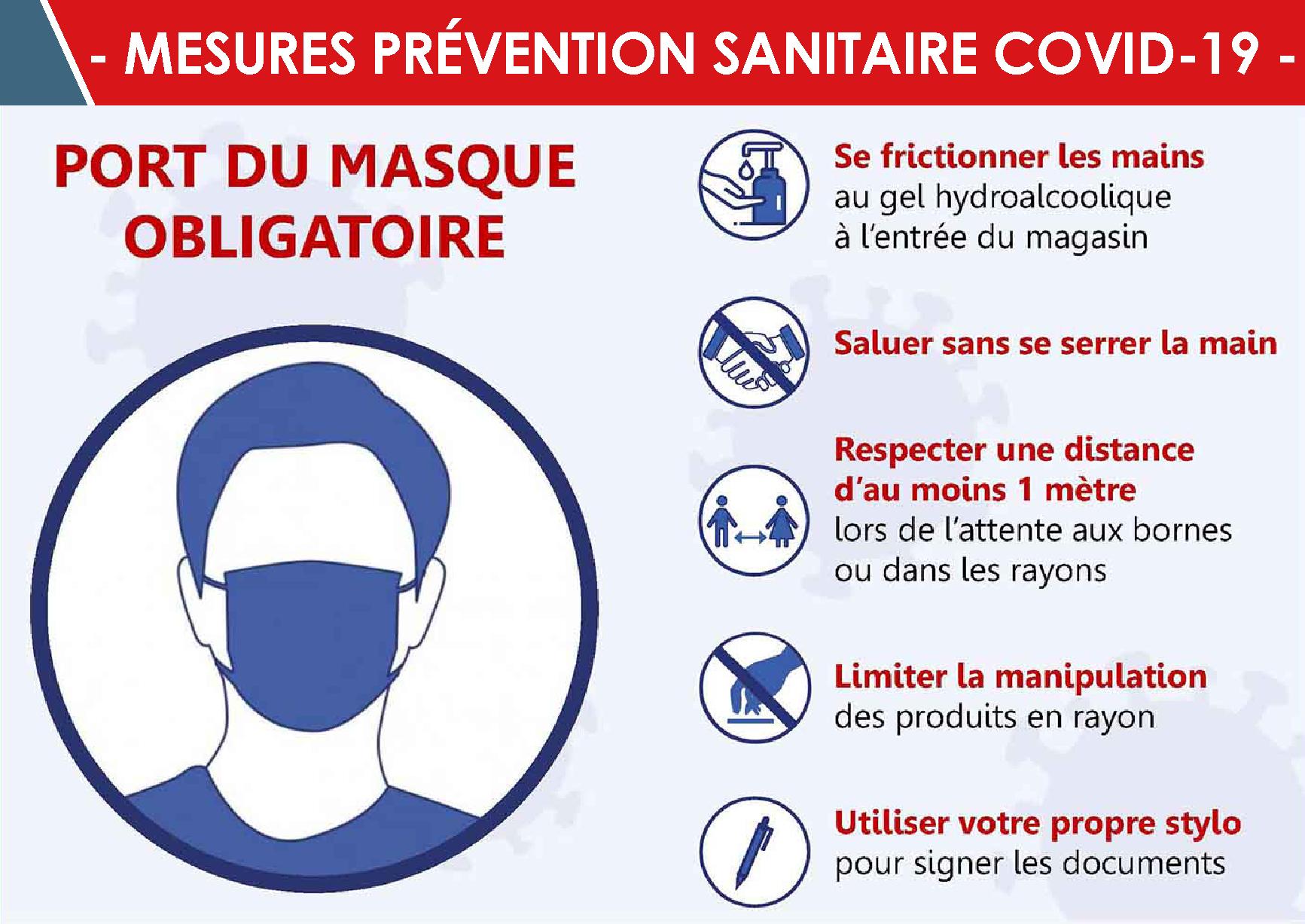 COVID-19 : Nouvelles mesures sanitaires à respecter