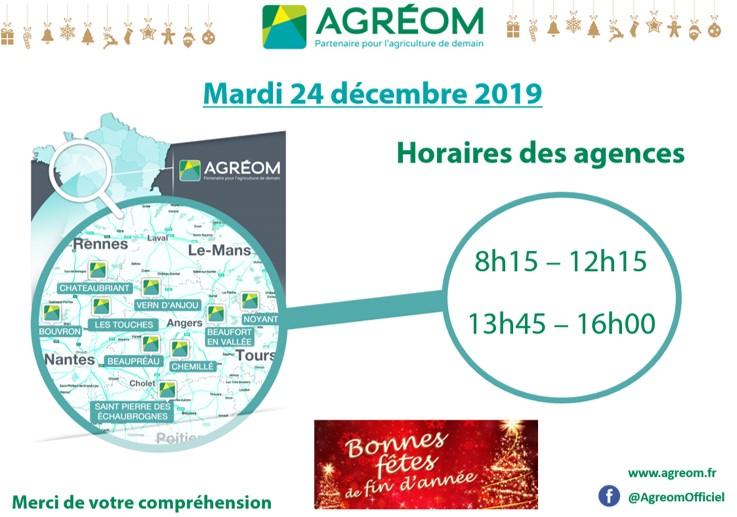 HORAIRES AGRÉOM 24 DECEMBRE 2019